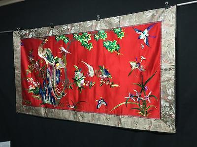 Antique Chinese embroidered silk tapestry - wedding wall hanging - Phoenixes