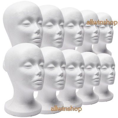 10 X Female Styrofoam Mannequin Manikin Head Model Foam Wig Hair Glasses DisplLY