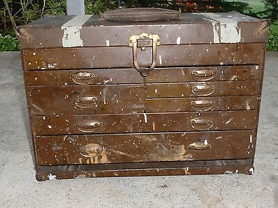 Antique Vintage Kennedy Kits Tool Box Chest Machinist Case All Metal 7 Drawers
