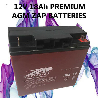 12V 18Ah Zap Agm/sla Deep Cycle  Battery Scooter Golf Cart Buggy Wheelchair