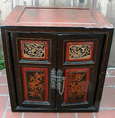 Antique Asian Chinese Carved Wood Cabinet Chest