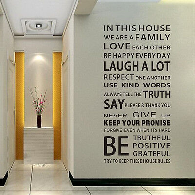Removable Large Wall Quote Decal Art Vinyl Sticker Decor Family House Rules