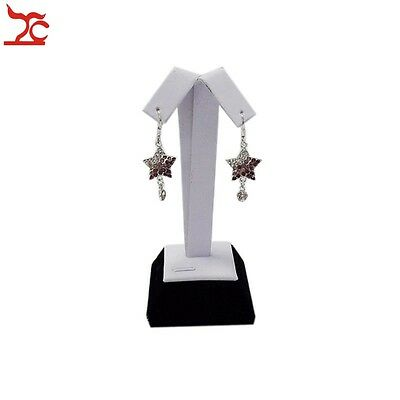 Jewelry Display White PU Black Velvet Stud Rack Stand Organizer Earring Holder