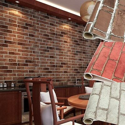 Rustic Brick Effect Rock Stone Textured Wall Paper Adhesived Home Room Bar Decor