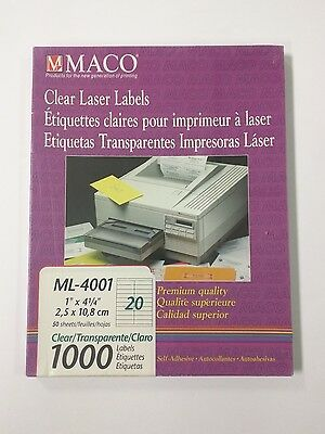 "MACO ML-4001 Clear Transparent Laser Labels 1"" x 4-1/4"" box of 1000"