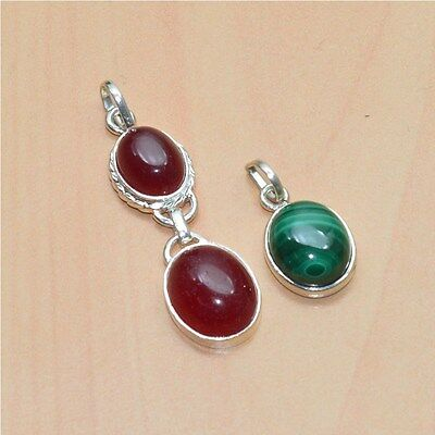 925 Solid Sterling Silver Wholesale 2 Pc Natural Green Malachite Pendant Lot