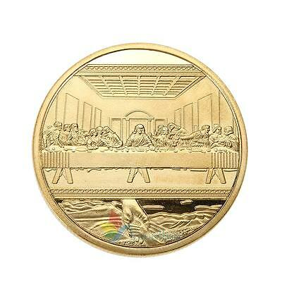 Gold Plated Jesus The Last Super Calendar Commemorative Coin Art Collection Gift
