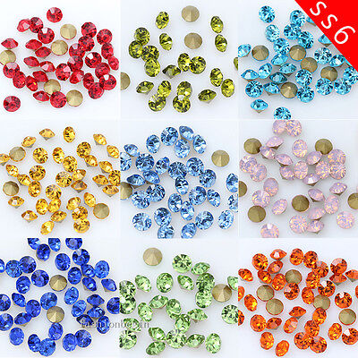144/1440p ss6 2mm color Point Back Crystal Glass Rhinestone jewels Nail-Art Bead
