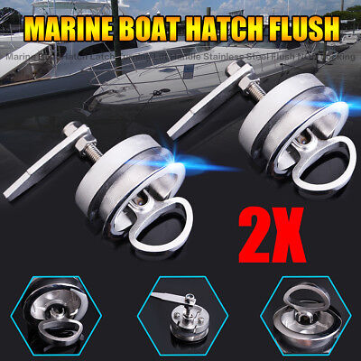2X Marine Boat Hatch Latch Flush Turning Lift Handle Stainless Steel NON Locking