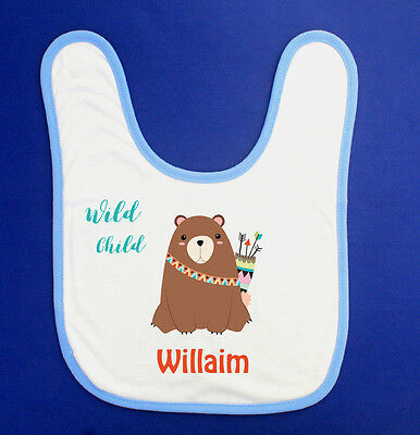 Personalised Custom Name Woodland Baby Boy Bib Newborn Gift Keepsake BabyShower