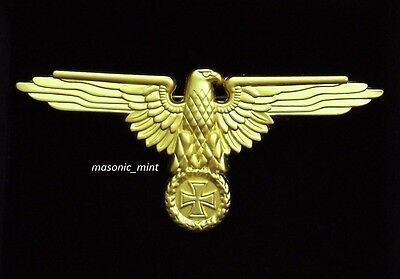 Repro German 'perched Eagle' Cap Badge - Gold Tone Iron Cross Medal