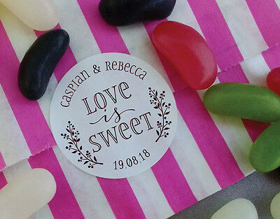 WEDDING STICKERS sweet cones favours, favor love is sweet personalised name S1