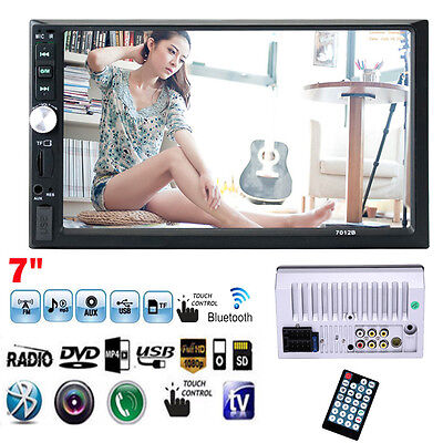 "7"" Bluetooth Touchscreen Double 2 Din In dash Car Stereo Radio Mp3 DVD TV Player"