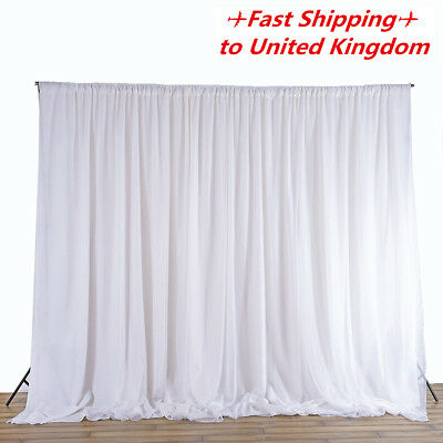 Wedding Party Backdrop Curtain Drapes 2.4M White Background Studio Draping Decor