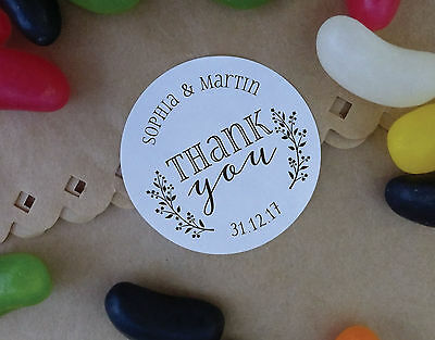 THANK YOU wedding stickers personalised name labels favours sweets jar bags S8