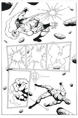 Jim Starlin Original Art - Death of the New Gods Action Page Captain Marvel type