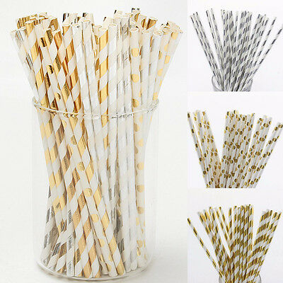 25/50/100X Gold Silver Foil Drinking Paper Straws Striped Party Birthday Wedding