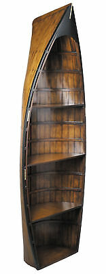 "Bosun's Gig Wooden Row Boat Canoe Bookshelve 73"" Nautical Bookcase Decor New"