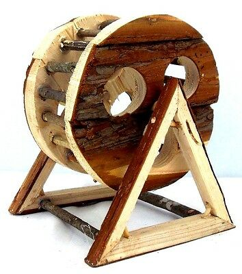 NATURAL WOOD WOODEN EXERCISE WHEEL for Dwarf Hamsters, Siberian, Gerbils, Mice