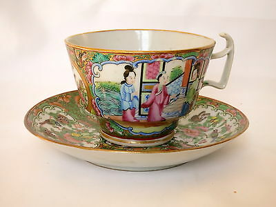Chine Canton Tasse+Sous-Tasse Personnages Rose Medallion Cup And Saucer 19E S