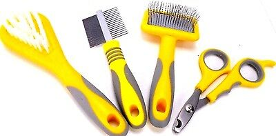 Ancol Small Pets grooming Bristle & Slicker Brush Double Sided Comb & Clippers