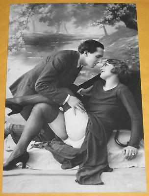 Loving Man & Girl 4x6 Photo Couple Boobs Old B&W Image Vintage R21