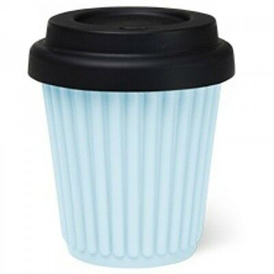 BYO Silicone Reusable Travel Coffee Cup Mug 230ml / 8 Oz in Blue + Black