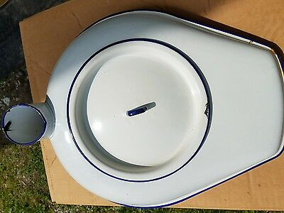 Vintage  Enamel White With Blue Trim Bed Pan With Lid