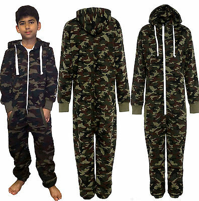 Children Boys Girls unisex Army Camouflage Micro Fleece Tracksuits All In One