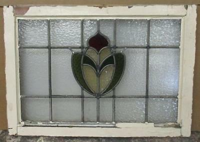 """MID SIZED OLD ENGLISH LEADED STAINED GLASS WINDOW Ethereal Floral 26.5"""" x 19"""""""