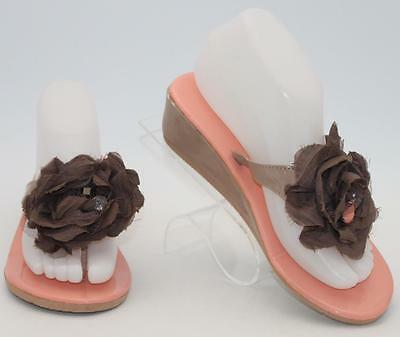 db0a8d6af96e Simply Vera Vera Wang Brown Coral Flower Thong Flip Flop Sandals Size 6.5  Shoes