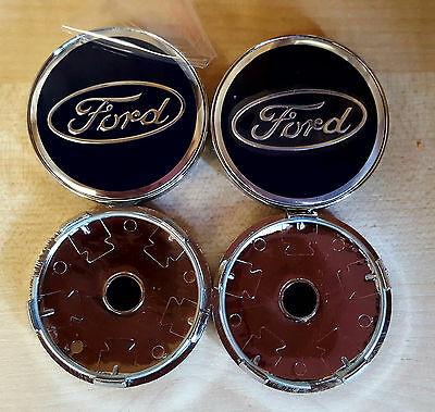 4x BLUE FORD FITS MOST NEW MODELS 60MM ALLOY WHEEL CENTRE CAPS