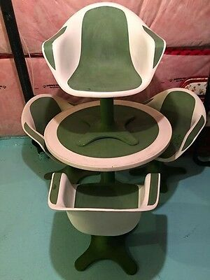 Eames Era Supreme Fiberglass Chair x4 Table Modern Vintage Patio Set 1960s Retro