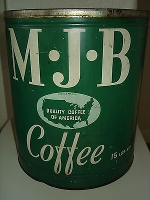 Vintage Antique Large 15 lbs. Pound MJB Coffee Tin Can