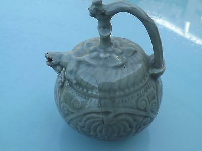 Antique Chinese ? Oriental Porcelain Grotesque Pot . As Found - Unusual