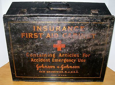 Antique JOHNSON & JOHNSON Insurance First Aid Tin Litho Cabinet Kit APOTHECARY