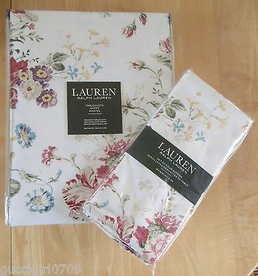 Ralph Lauren Antibes Floral Red Cotton Tablecloth & Set Of Four Napkins (BNWT)