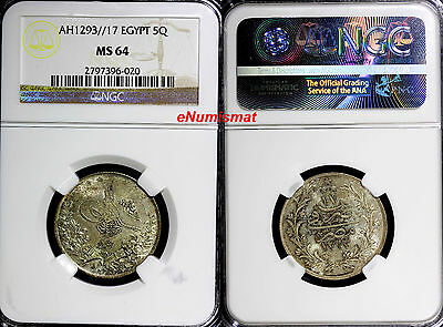 Egypt Abdul Hamid II (1876-1909) AH1293 Y17 5 Qirsh NGC MS64 TOP GRADED! KM# 294