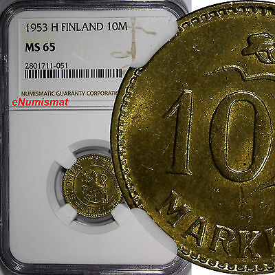 Finland 1953 H 10 Markkaa NGC MS65 TOP GRADED COIN BY NGC KM# 38