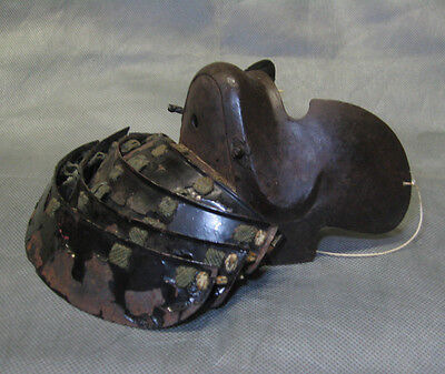 Real Japanese Lacquered Menpo Samurai Half Face Guard Mask Armor Pre Edo Era