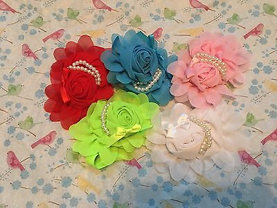 New Girl's Baby Toddler Infant Flower Pearl Headband Hair Bow Band Accessories