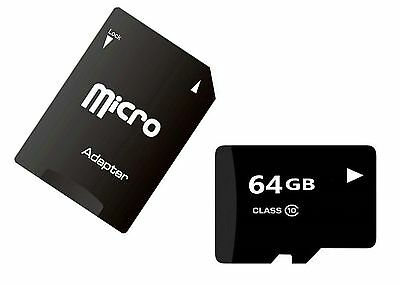BRAND NEW 64GB Class 10 Micro SD SDXC Memory Card with Free Adapter