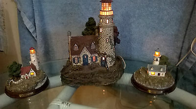 "Lot of 3~Thomas Kinkade's Hawthorne Village ""Guiding Point Lighthouse"" RETIRED +"