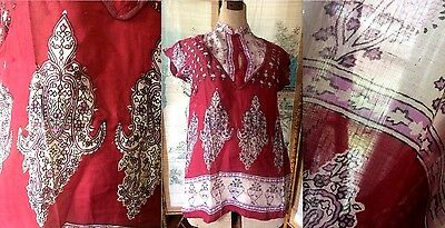VTG NOS 70s INDIAN COTTON GAUZE SHEER BLOUSE TOP KURTA BLOCKPRINTED RED LILAC M