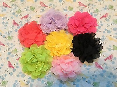 NEW Baby Toddler Infant Chiffon Lace Flower Hair Bow Band Headband Accessories