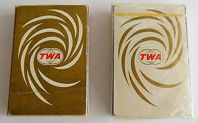 Lot of 2 Vintage 1960s TWA playing cards by Brown & Bigelow