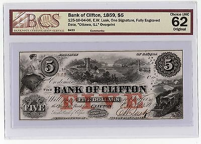 Bank Of Clifton 1859, $5 BCS Certified Choice UNC. 62, Rare, high quality.