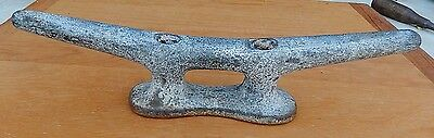 """Large Vintage 14"""" Heavily Galvanized Cast Iron Boat Ship Cleat"""