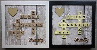 (a) Scrabble Art Picture Personalised Family/Home/Friends/Love & Heart - Wood