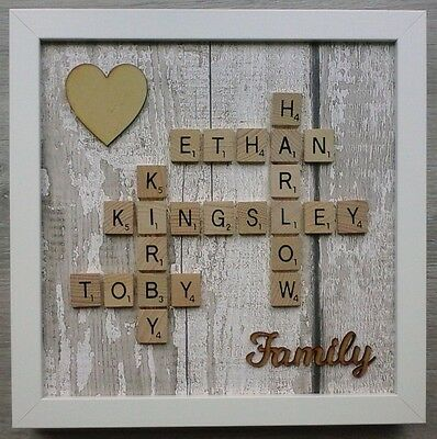 (c) Scrabble Art Picture Personalised Family/Home/Friends/Love & Heart - Wood